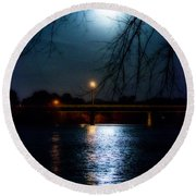 Moon Set Lake Pleasurehouse Round Beach Towel