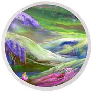 Round Beach Towel featuring the painting Moon Shadow by Jane Small