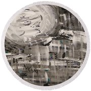 Round Beach Towel featuring the painting Moon Shimmer by Mary Carol Williams
