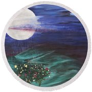 Moon Showers Round Beach Towel