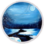 Moon Snow Trees River Winter Round Beach Towel