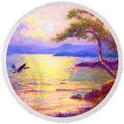 Round Beach Towel featuring the painting  Wild Goose, Moon Song by Jane Small