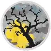 Round Beach Towel featuring the painting Moon Tree by Marisela Mungia