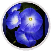 Moonglow On Blue Round Beach Towel