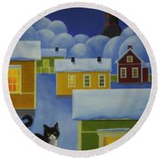 Moonlight Cat Round Beach Towel