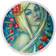 Moonlight Flowers 030311 Round Beach Towel by Selena Boron