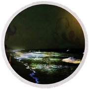Moonlight Gives Girl Hope In The Darkness Round Beach Towel