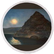 Round Beach Towel featuring the painting Moonlight On Pyramid Lake by Donna Tucker