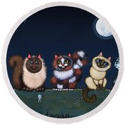 Moonlight On The Wall Round Beach Towel