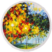 Round Beach Towel featuring the painting Moonlight Raindrops Original Acrylic Palette Knife Painting by Georgeta Blanaru