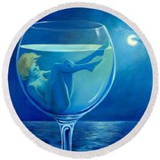 Moonlight Rendezvous Round Beach Towel