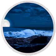Moonlight Sail Round Beach Towel