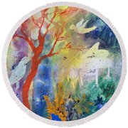 Round Beach Towel featuring the painting Moonlight Serenade by Robin Maria Pedrero