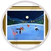 Moonlight Skating. Inspirations Collection. Card Round Beach Towel by Oksana Semenchenko
