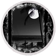 Round Beach Towel featuring the photograph Moonlight Surf by Athala Carole Bruckner