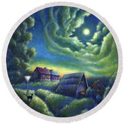 Moonlit Dreams Come True Round Beach Towel