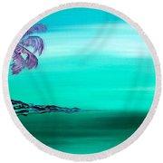 Moonlit Palm Round Beach Towel by Jacqueline Athmann