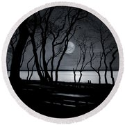 Moonlit Stroll Round Beach Towel
