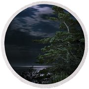Moonlit Treescape Round Beach Towel