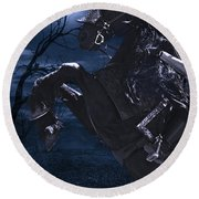 Moonlit Warrior Round Beach Towel