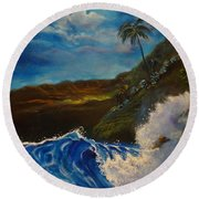 Moonlit Wave 11 Round Beach Towel