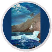 Round Beach Towel featuring the painting Moonlit Wave by Jenny Lee