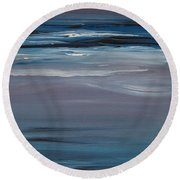 Round Beach Towel featuring the painting Moonlit Waves At Dusk by Jani Freimann