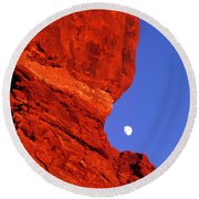 Round Beach Towel featuring the photograph Moonrise Balanced Rock Arches National Park Utah by Dave Welling