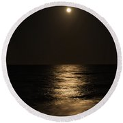 Moon Over Water Round Beach Towel