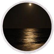 Moon Over Water Round Beach Towel