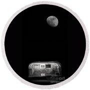 Moonrise Over Airstream Round Beach Towel