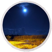 Moonrise Over Rochelle - Landscape Round Beach Towel