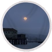 Moonrise Over The Harbor Round Beach Towel