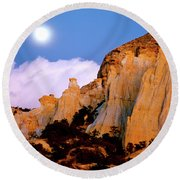 Moonrise Over The Kaiparowits Plateau Utah Round Beach Towel by Ed  Riche
