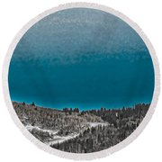 Round Beach Towel featuring the photograph Moonrise Over The Mountain by Don Schwartz