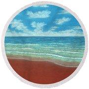 Moonset B Round Beach Towel