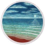 Moonset C Round Beach Towel