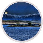Moonset Over Cooney Round Beach Towel