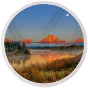 Moonset Over Oxbow Bend Round Beach Towel
