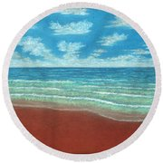 Moonset Triptych Round Beach Towel