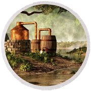 Moonshine Still 1 Round Beach Towel