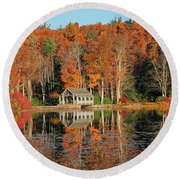 Moore State Park Autumn I Round Beach Towel