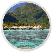Moorea Lagoon No 3 Round Beach Towel