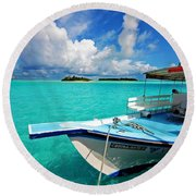 Moored Dhoni At Sun Island. Maldives Round Beach Towel