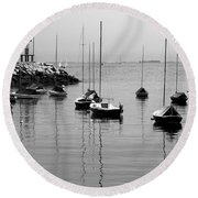 Moored Round Beach Towel by Eunice Miller