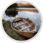 Moored On Loch Awe Round Beach Towel