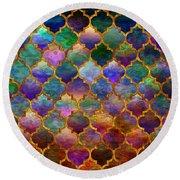 Moorish Mosaic Round Beach Towel by Lilia D