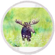 Moose In Flowers Round Beach Towel