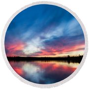 Moose Lake Sunset Round Beach Towel
