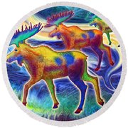 Round Beach Towel featuring the mixed media Moose Mystique by Teresa Ascone